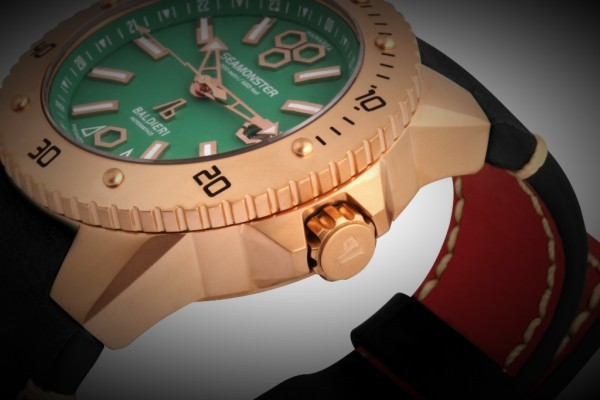 rose gold,watches, seamonster, alessandro baldieri, man watch, 46mm, black dial, diving watch,